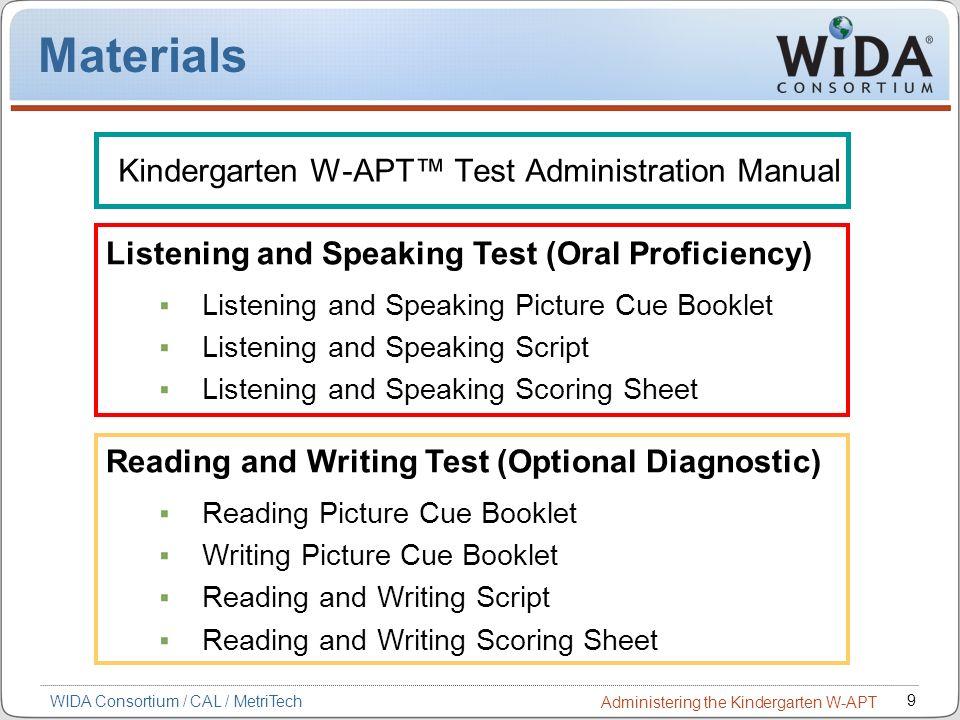 9 WIDA Consortium / CAL / MetriTech Administering the Kindergarten W-APT Materials Kindergarten W-APT Test Administration Manual Listening and Speakin