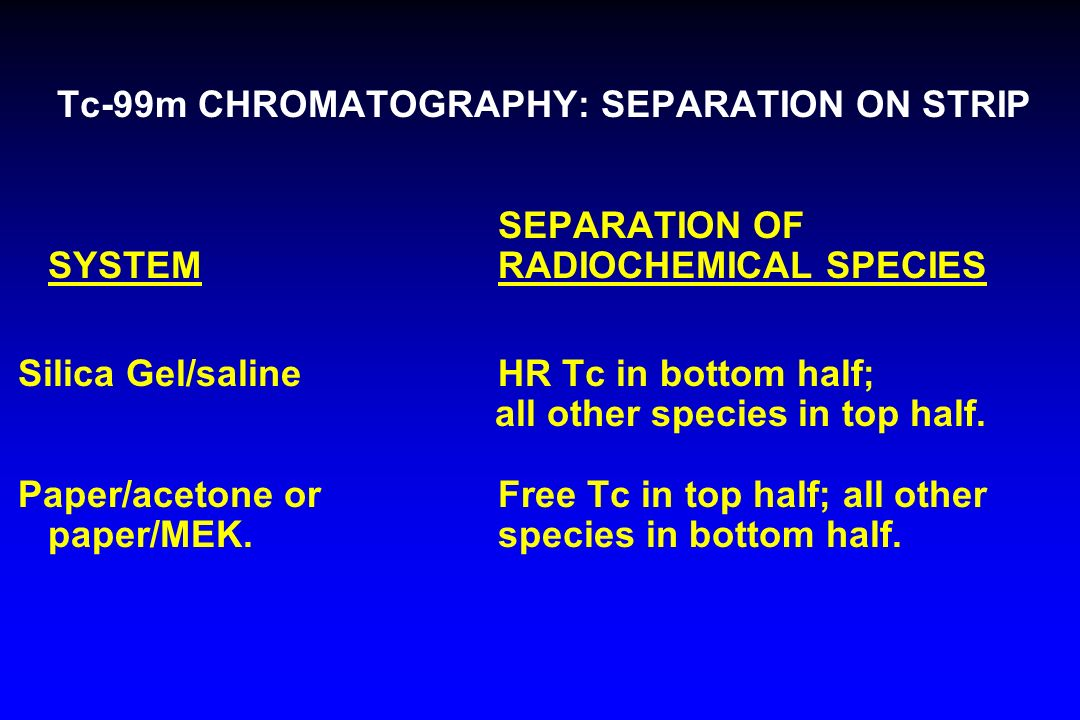 Tc-99m CHROMATOGRAPHY: SEPARATION ON STRIP SEPARATION OF SYSTEM RADIOCHEMICAL SPECIES Silica Gel/salineHR Tc in bottom half; all other species in top