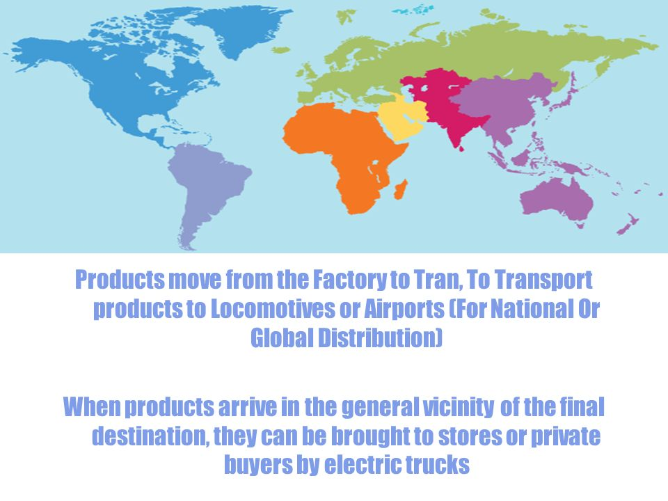 Products move from the Factory to Tran, To Transport products to Locomotives or Airports (For National Or Global Distribution) When products arrive in the general vicinity of the final destination, they can be brought to stores or private buyers by electric trucks