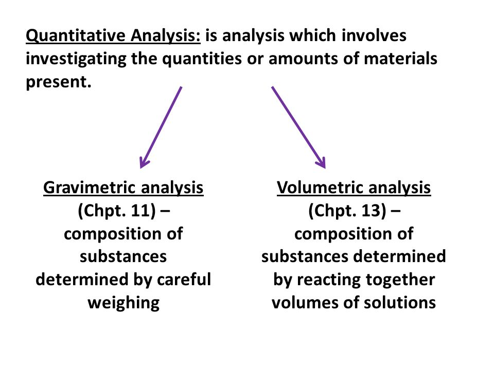 Quantitative Analysis: is analysis which involves investigating the quantities or amounts of materials present. Gravimetric analysis (Chpt. 11) – comp