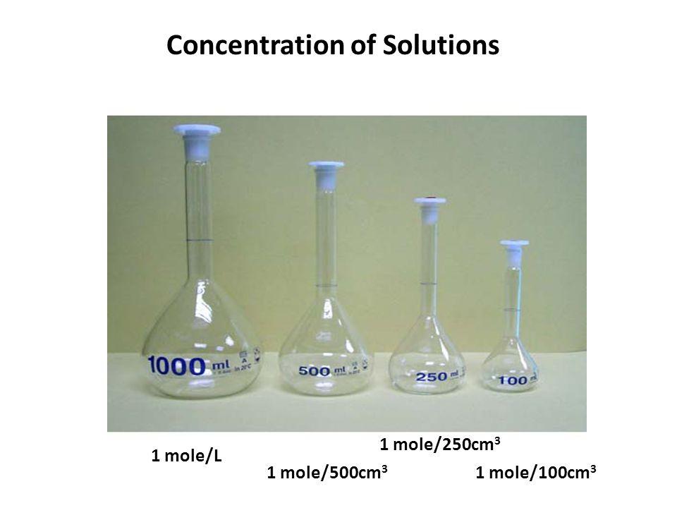 Concentration of Solutions 1 mole/L 1 mole/500cm 3 1 mole/250cm 3 1 mole/100cm 3