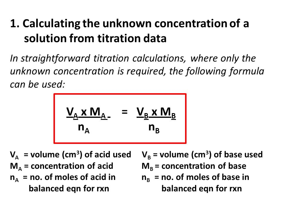 1. Calculating the unknown concentration of a solution from titration data In straightforward titration calculations, where only the unknown concentra