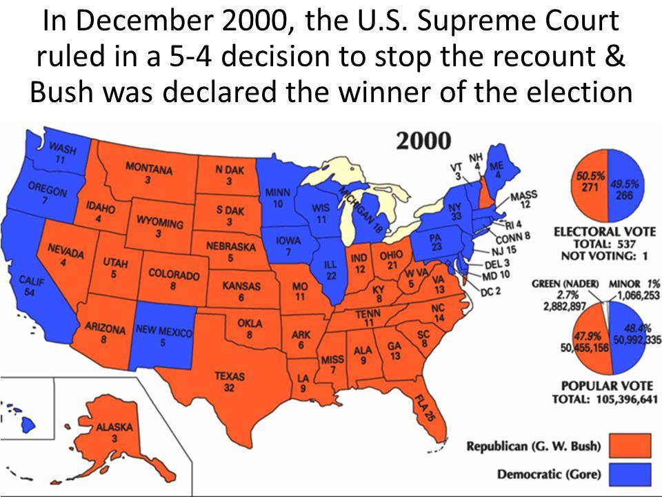In December 2000, the U.S.