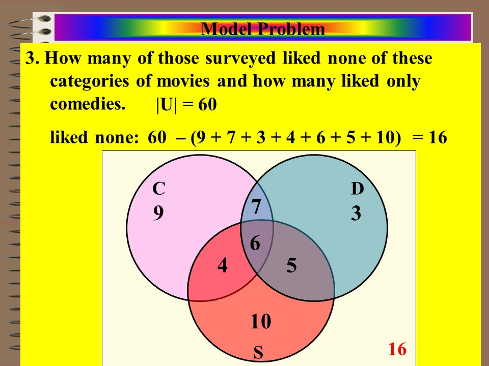 Course: Math Literacy Aim: Solving Problems/Surveys w/Venn Diagrams and Sets 3. How many of those surveyed liked none of these categories of movies an