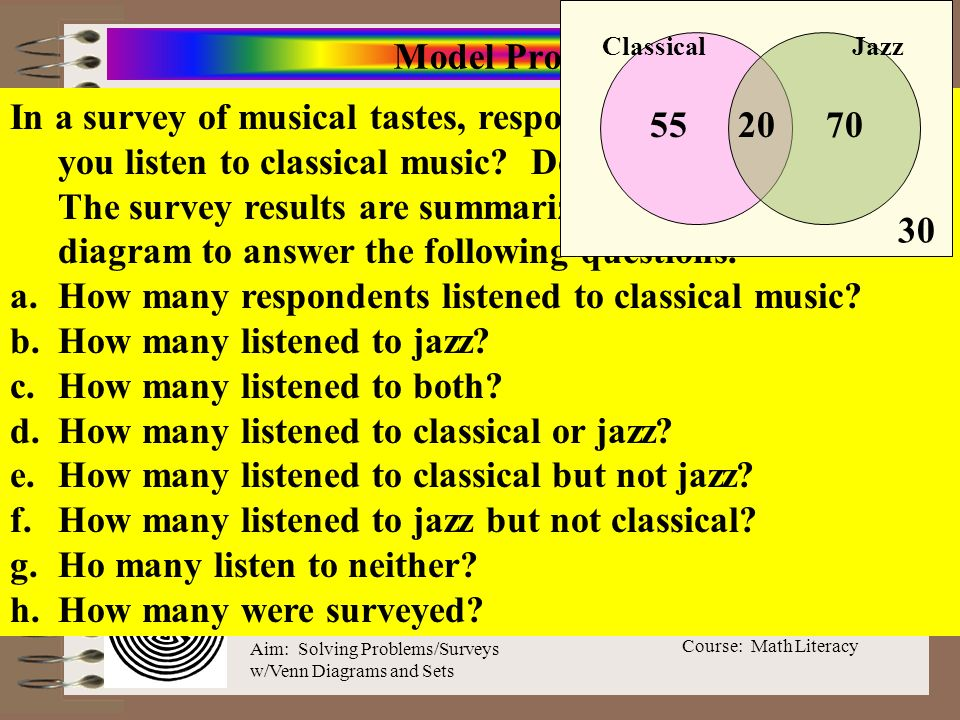 Course: Math Literacy Aim: Solving Problems/Surveys w/Venn Diagrams and Sets Model Problem In a survey of musical tastes, respondents were asked: Do y