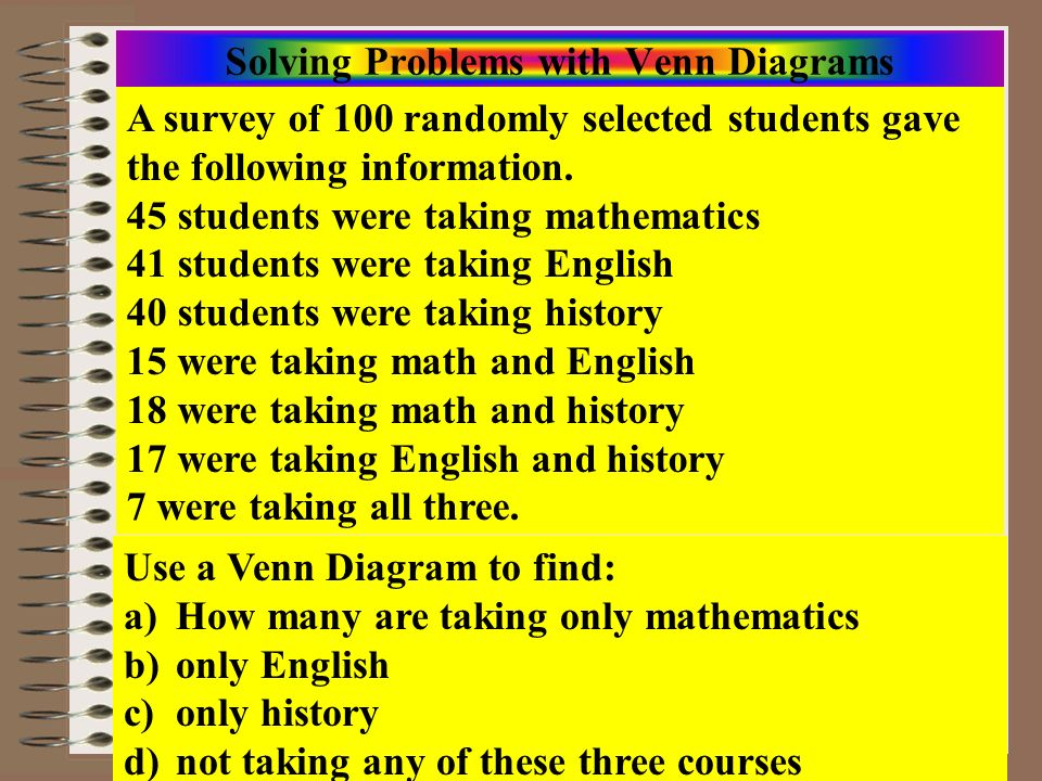 Course: Math Literacy Aim: Solving Problems/Surveys w/Venn Diagrams and Sets Model Problem Understand the problem Devise a plan Carry out the plan Look back U M H E Fill in the innermost region first Work your way outward by subtraction until # elements in all regions is known 7 10 8 11 1916 12 17 |M E H| = 7 |E H| = 17|M H| = 18|M E| = 15 |H| = 40|E| = 41|M| = 41 19+8+16+11+ 7+10+12 = 83