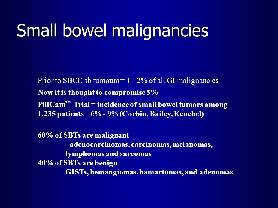 Small bowel malignancies Prior to SBCE sb tumours = 1 - 2% of all GI malignancies Now it is thought to compromise 5% PillCam Trial = incidence of smal