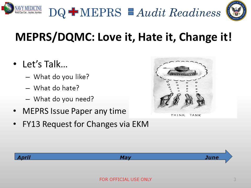 DQ MEPRS Audit Readiness MEPRS/DQMC: Love it, Hate it, Change it! Lets Talk… – What do you like? – What do hate? – What do you need? MEPRS Issue Paper