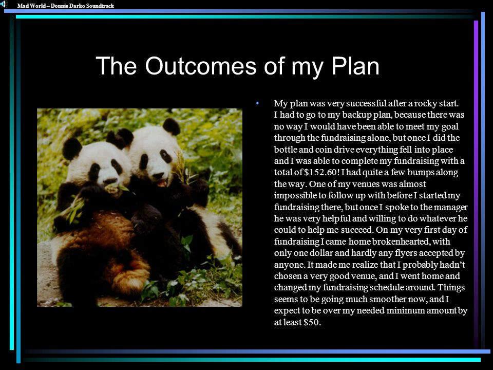 The Outcomes of my Plan My plan was very successful after a rocky start. I had to go to my backup plan, because there was no way I would have been abl