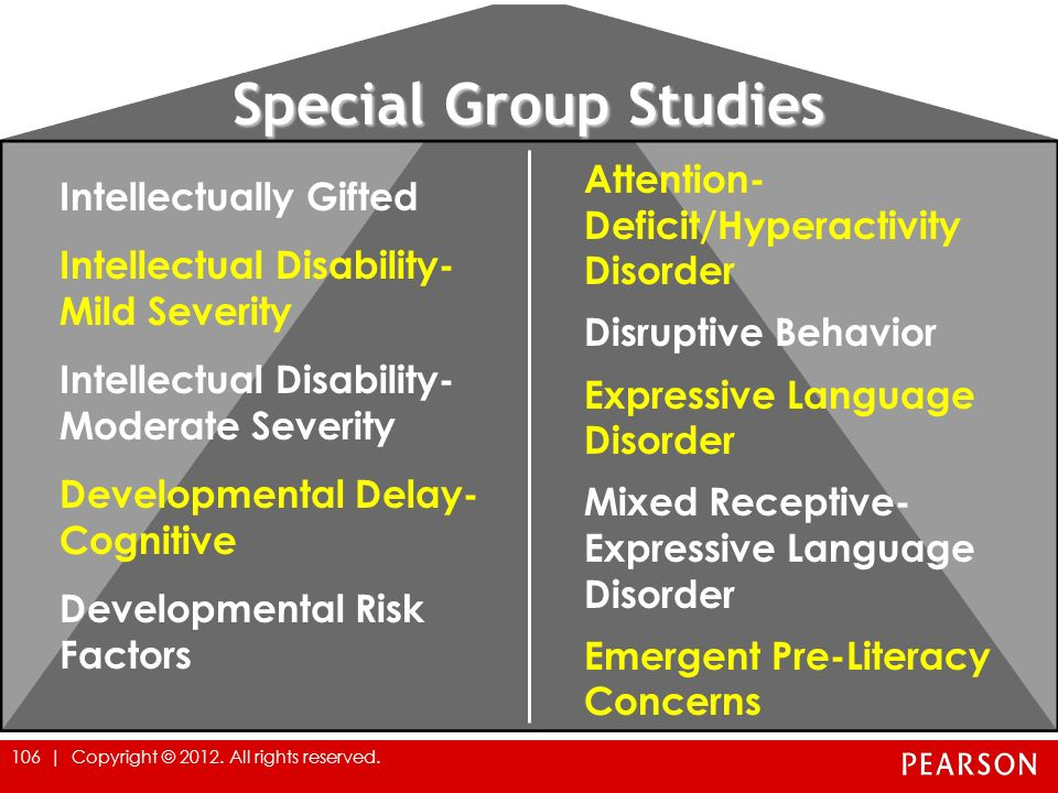 Special Group Studies Intellectually Gifted Intellectual Disability- Mild Severity Intellectual Disability- Moderate Severity Developmental Delay- Cog
