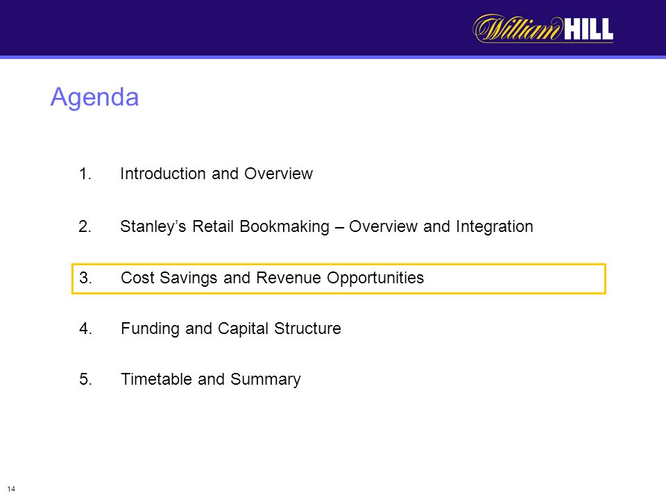 14 Agenda 1.Introduction and Overview 2.Stanleys Retail Bookmaking – Overview and Integration 3.Cost Savings and Revenue Opportunities 4.Funding and Capital Structure 5.Timetable and Summary