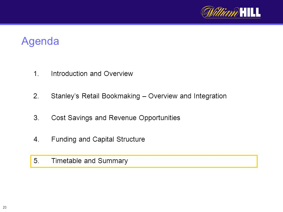 20 Agenda 1.Introduction and Overview 2.Stanleys Retail Bookmaking – Overview and Integration 3.Cost Savings and Revenue Opportunities 4.Funding and Capital Structure 5.Timetable and Summary