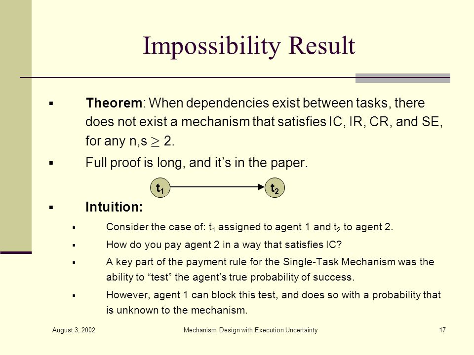 August 3, 2002 Mechanism Design with Execution Uncertainty17 Impossibility Result Theorem: When dependencies exist between tasks, there does not exist