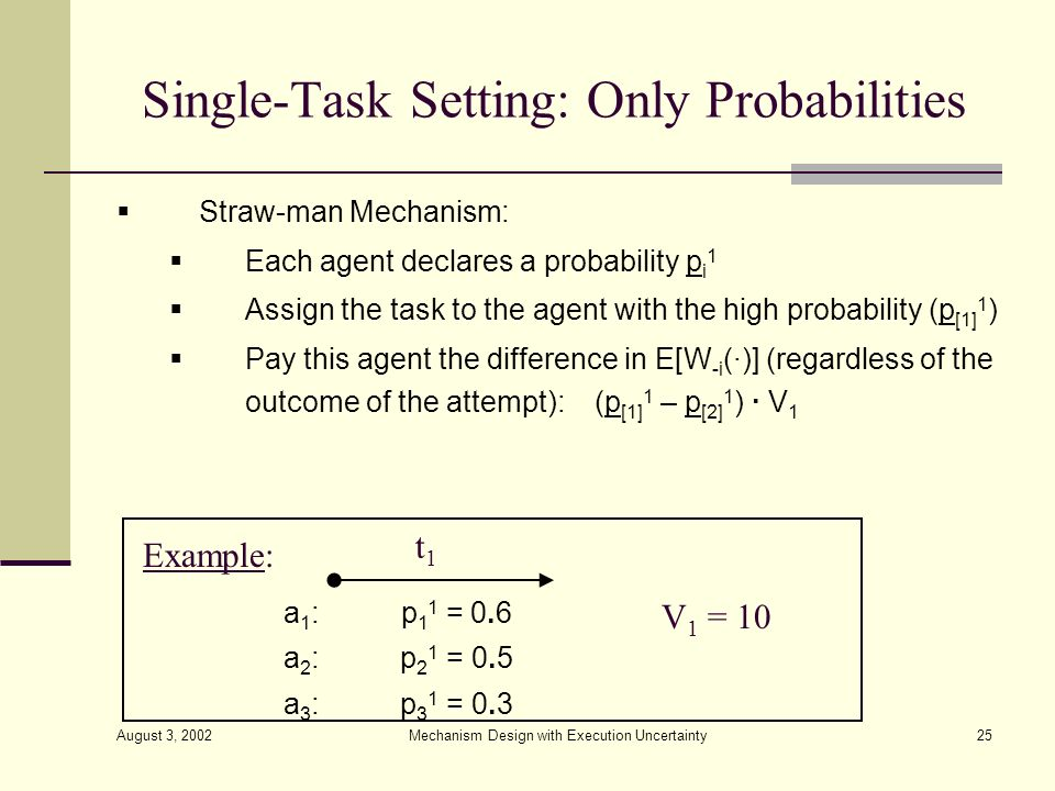 August 3, 2002 Mechanism Design with Execution Uncertainty25 Single-Task Setting: Only Probabilities Straw-man Mechanism: Each agent declares a probab