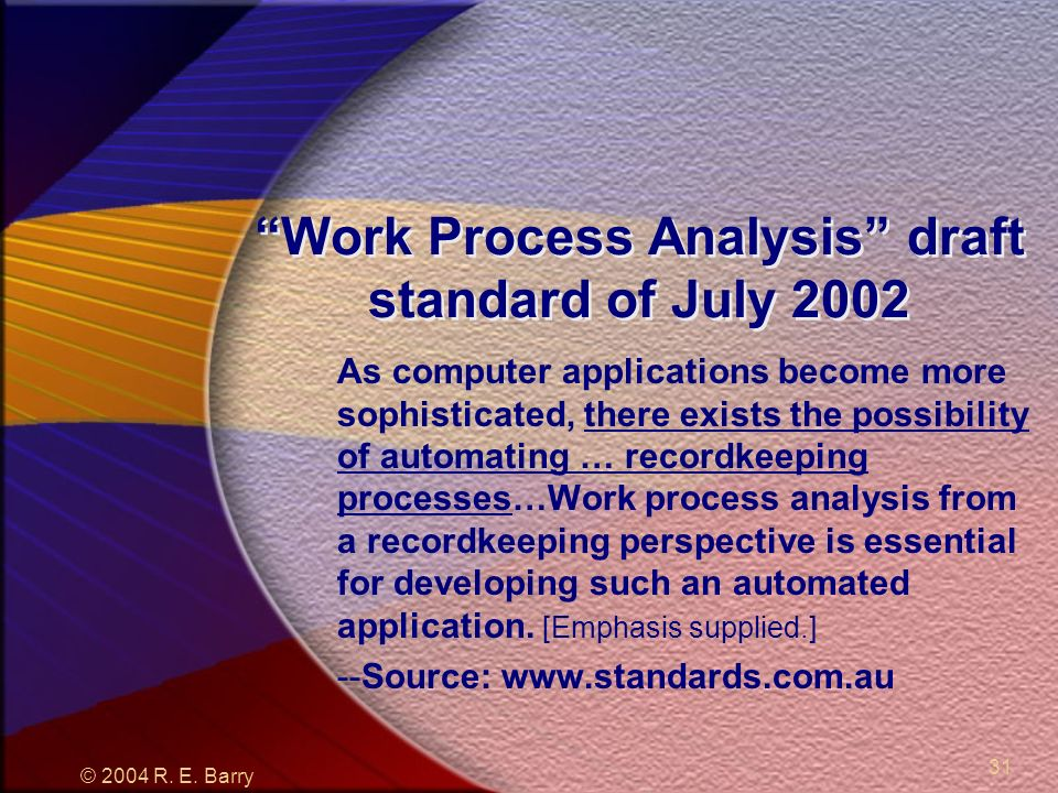 © 2004 R. E. Barry 31 Work Process Analysis draft standard of July 2002 As computer applications become more sophisticated, there exists the possibili