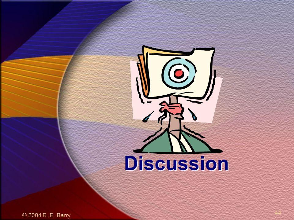 © 2004 R. E. Barry 44 Discussion