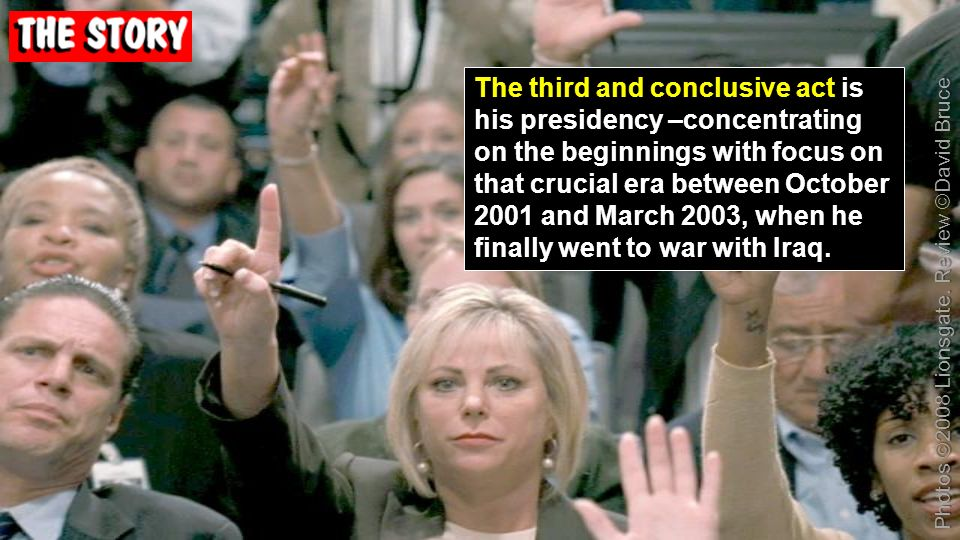 The third and conclusive act is his presidency –concentrating on the beginnings with focus on that crucial era between October 2001 and March 2003, wh