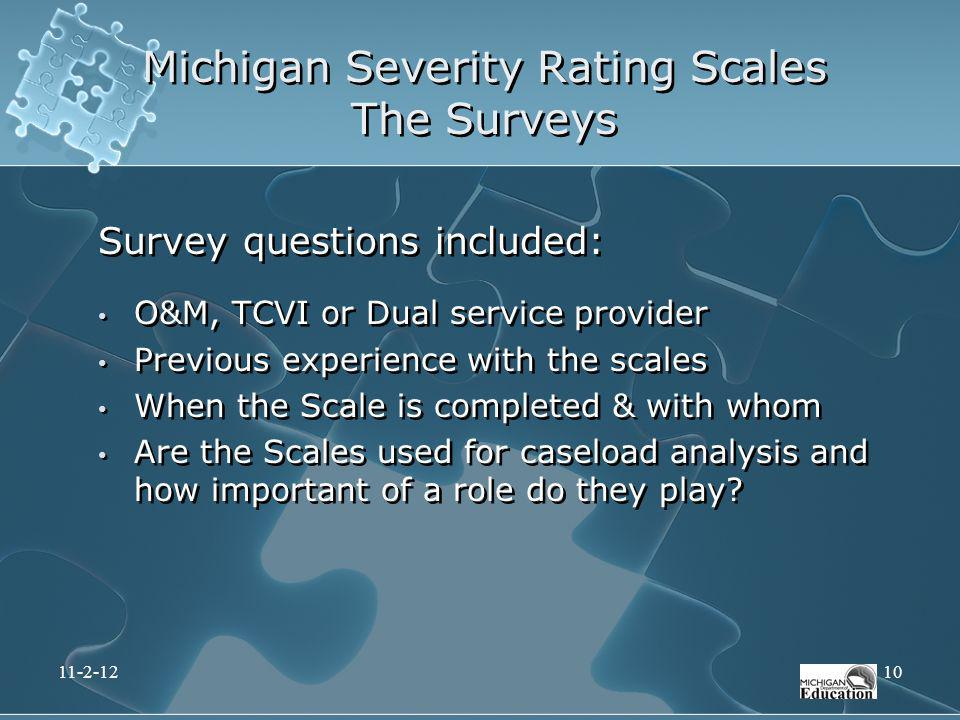 Survey questions included: O&M, TCVI or Dual service provider Previous experience with the scales When the Scale is completed & with whom Are the Scal