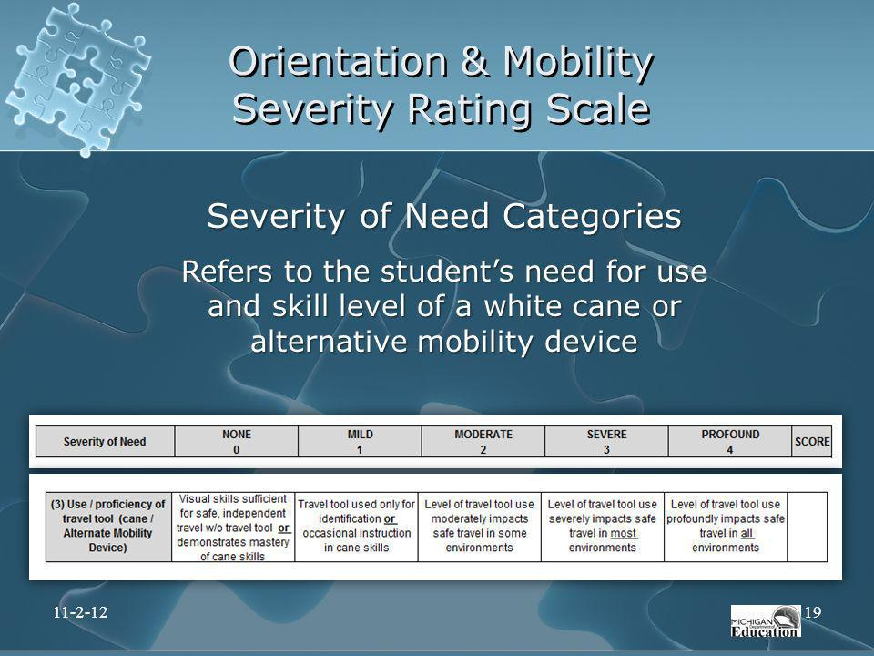Orientation & Mobility Severity Rating Scale Severity of Need Categories Refers to the students need for use and skill level of a white cane or altern