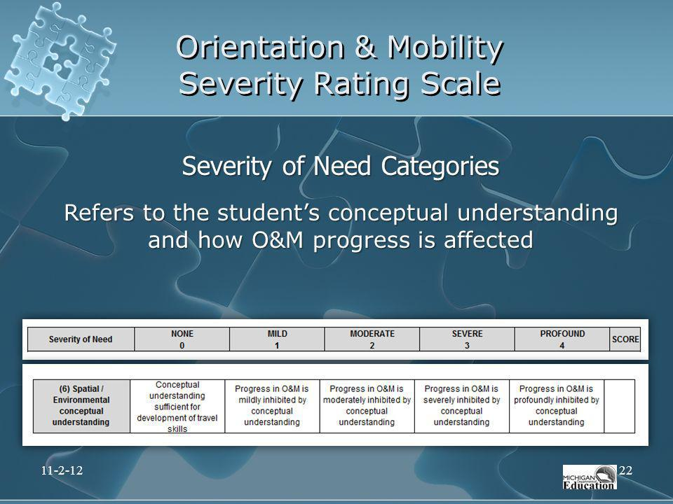Orientation & Mobility Severity Rating Scale Severity of Need Categories Refers to the students conceptual understanding and how O&M progress is affec