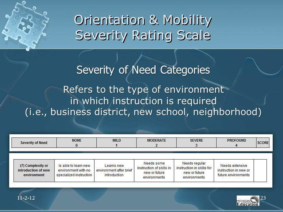 Orientation & Mobility Severity Rating Scale Severity of Need Categories Refers to the type of environment in which instruction is required (i.e., bus