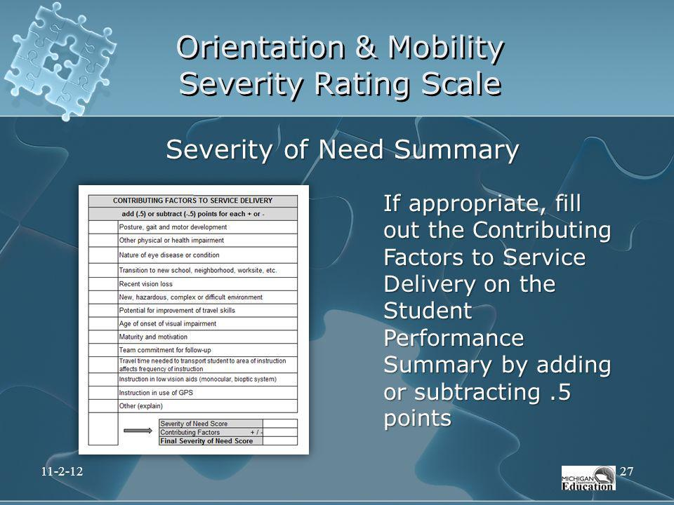 Orientation & Mobility Severity Rating Scale If appropriate, fill out the Contributing Factors to Service Delivery on the Student Performance Summary