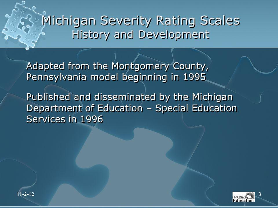 Michigan Severity Rating Scales History and Development Adapted from the Montgomery County, Pennsylvania model beginning in 1995 Published and dissemi