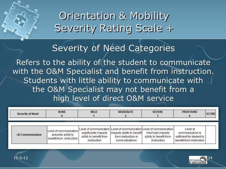Orientation & Mobility Severity Rating Scale + Severity of Need Categories Refers to the ability of the student to communicate with the O&M Specialist