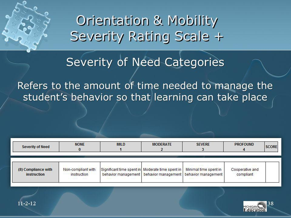 Orientation & Mobility Severity Rating Scale + Severity of Need Categories Refers to the amount of time needed to manage the students behavior so that