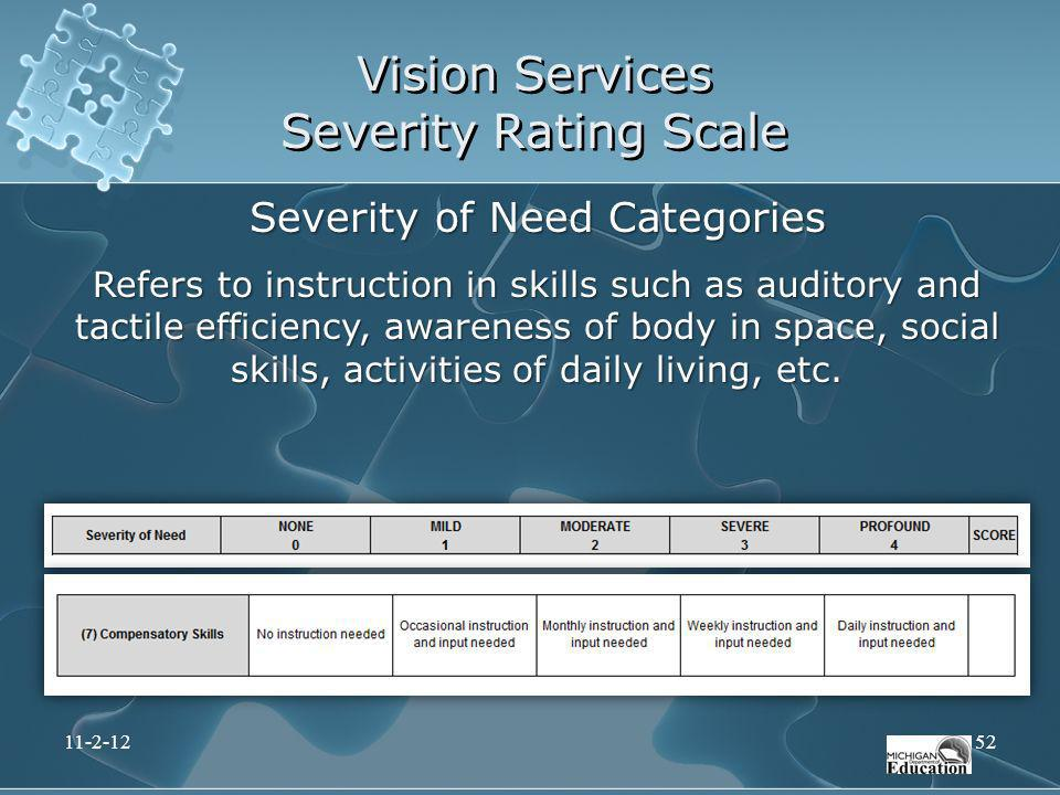 Vision Services Severity Rating Scale Severity of Need Categories Refers to instruction in skills such as auditory and tactile efficiency, awareness o