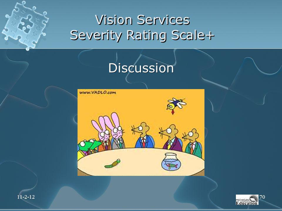 Vision Services Severity Rating Scale+ Discussion 11-2-1270