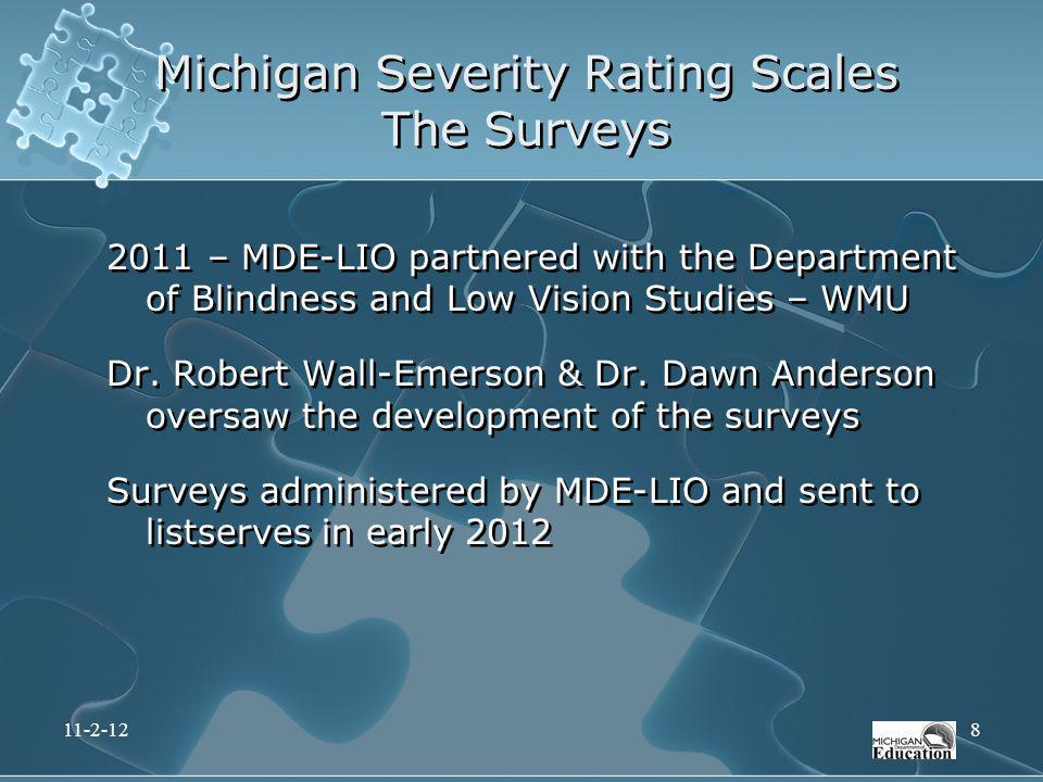 Michigan Severity Rating Scales The Surveys 11-2-128 2011 – MDE-LIO partnered with the Department of Blindness and Low Vision Studies – WMU Dr. Robert