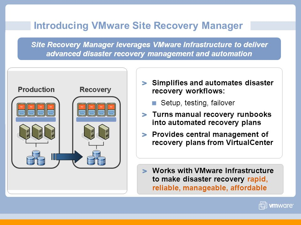 Simplifies and automates disaster recovery workflows: Setup, testing, failover Turns manual recovery runbooks into automated recovery plans Provides c
