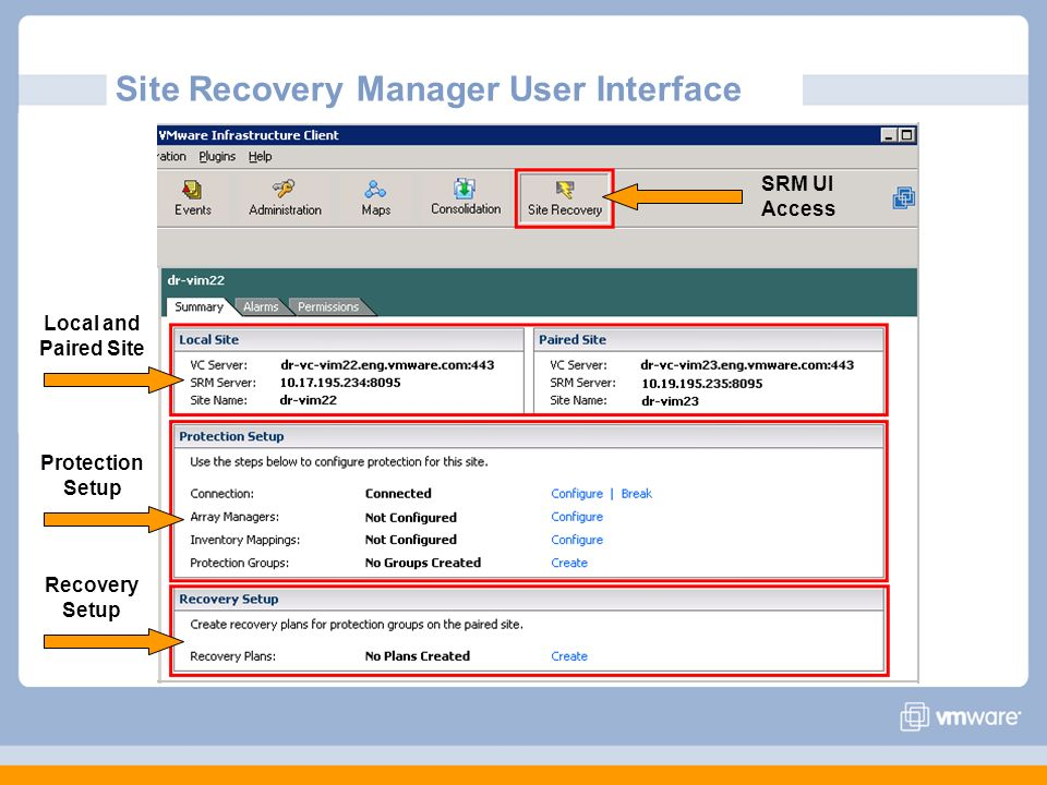 Site Recovery Manager User Interface Local and Paired Site Protection Setup Recovery Setup SRM UI Access