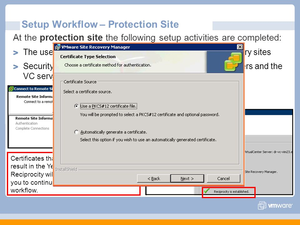 Setup Workflow – Protection Site At the protection site the following setup activities are completed: The user pairs the SRM servers at the protected