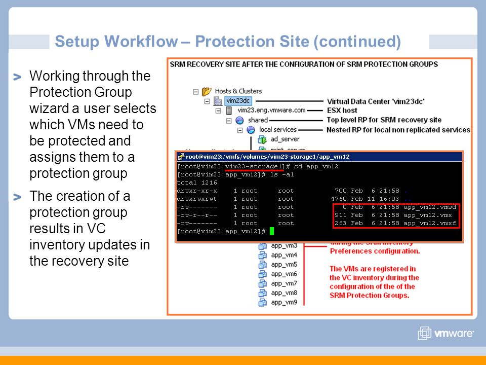 Setup Workflow – Protection Site (continued) Working through the Protection Group wizard a user selects which VMs need to be protected and assigns the