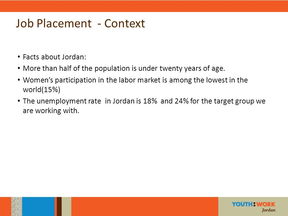 Job Placement - Context Facts about Jordan: More than half of the population is under twenty years of age. Womens participation in the labor market is