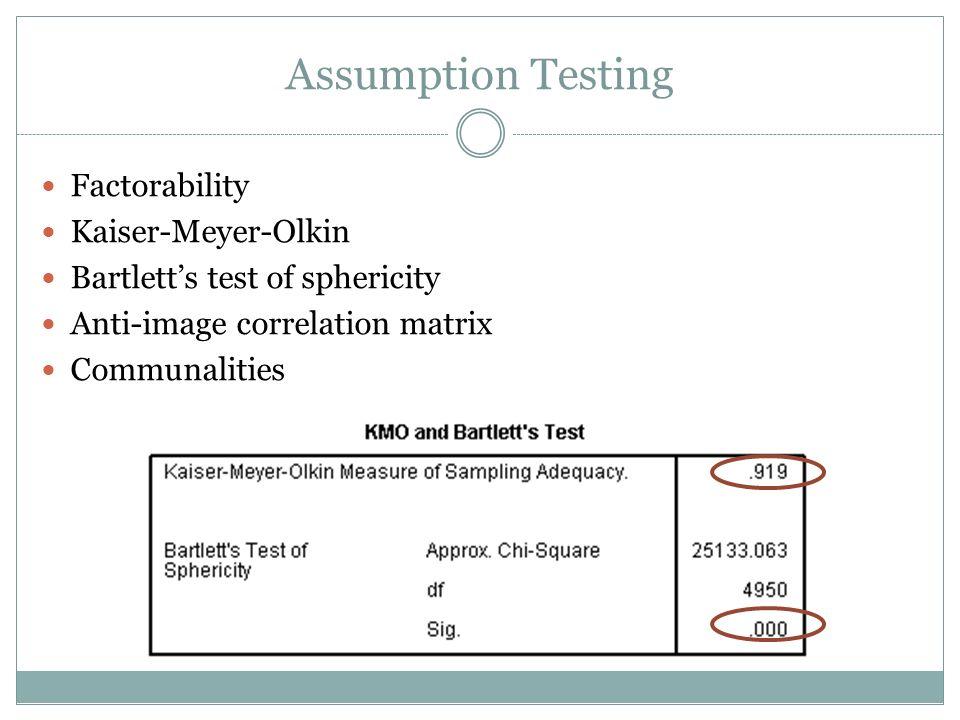 Assumption Testing Factorability Kaiser-Meyer-Olkin Bartletts test of sphericity Anti-image correlation matrix Communalities