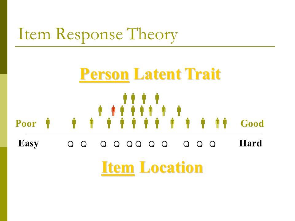 Item Response Theory Q Q Q Q GoodPoor EasyHard Person Latent Trait Item Location
