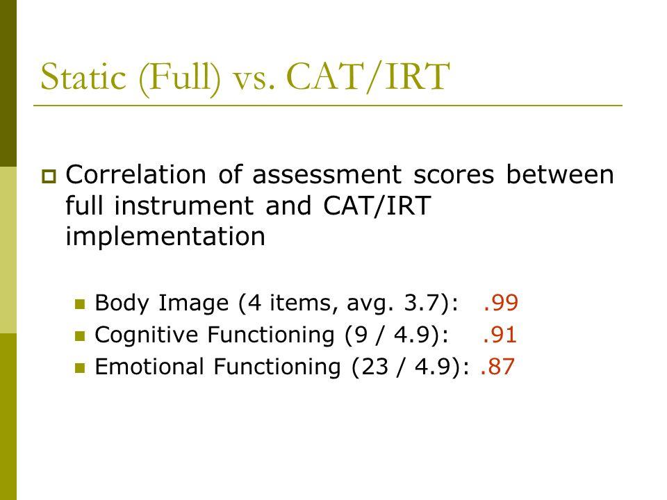 Static (Full) vs. CAT/IRT Correlation of assessment scores between full instrument and CAT/IRT implementation Body Image (4 items, avg. 3.7):.99 Cogni