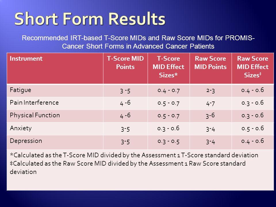 InstrumentT-Score MID Points T-Score MID Effect Sizes* Raw Score MID Points Raw Score MID Effect Sizes Fatigue3 -50.4 - 0.72-30.4 - 0.6 Pain Interfere