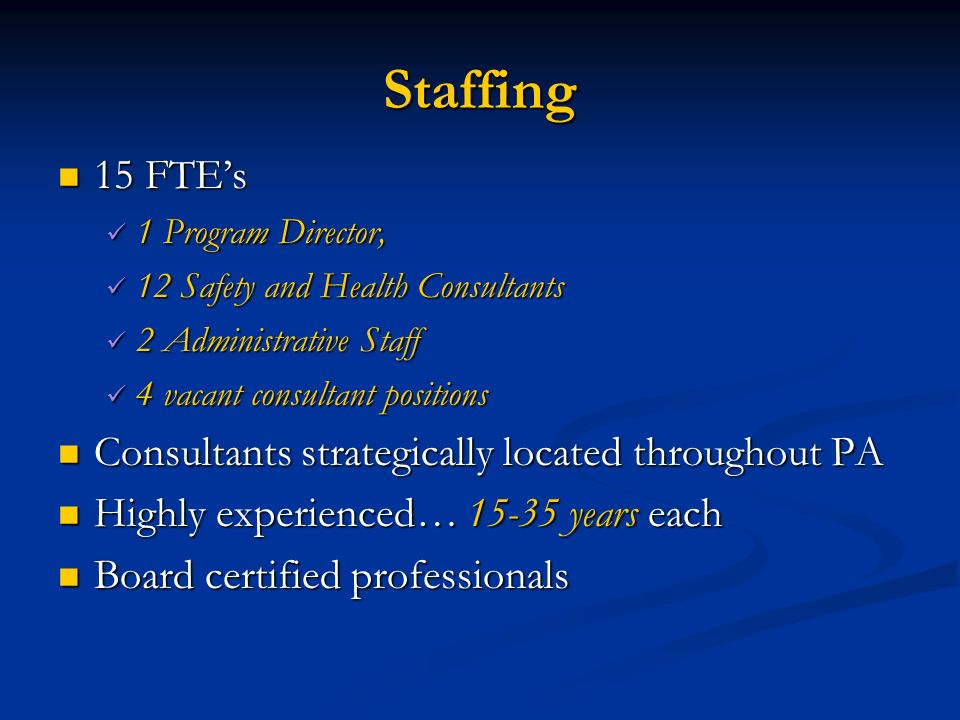 Staffing 15 FTEs 15 FTEs 1 Program Director, 1 Program Director, 12 Safety and Health Consultants 12 Safety and Health Consultants 2 Administrative St