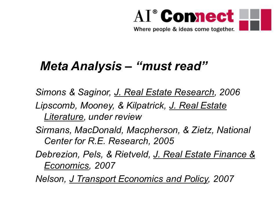 Simons & Saginor, J. Real Estate Research, 2006 Lipscomb, Mooney, & Kilpatrick, J. Real Estate Literature, under review Sirmans, MacDonald, Macpherson