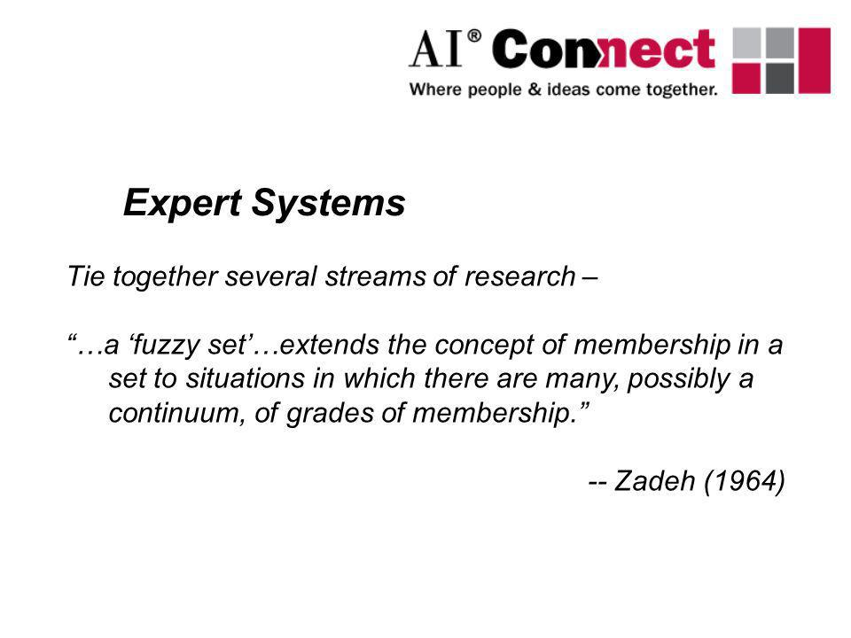 Expert Systems Tie together several streams of research – …a fuzzy set…extends the concept of membership in a set to situations in which there are man