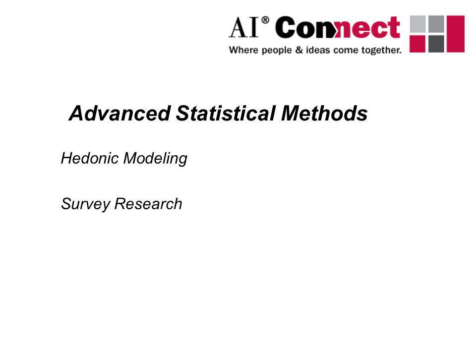 Hedonic Modeling Survey Research Advanced Statistical Methods
