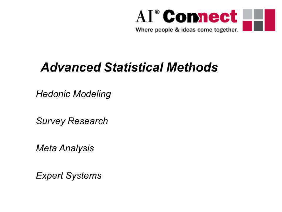 Hedonic Modeling Survey Research Meta Analysis Expert Systems Advanced Statistical Methods