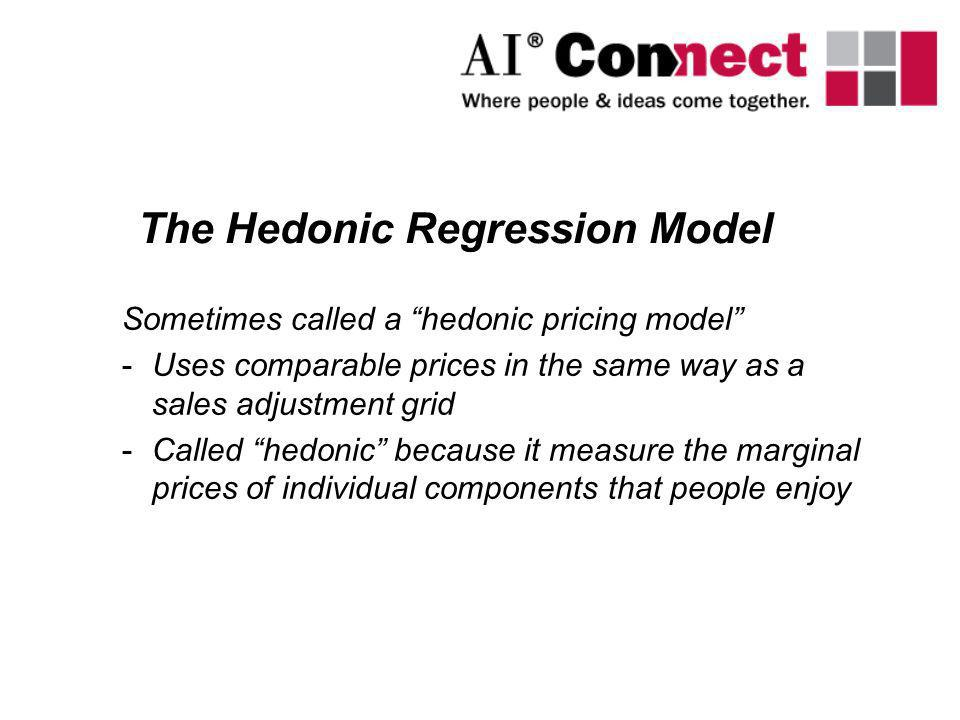 Sometimes called a hedonic pricing model -Uses comparable prices in the same way as a sales adjustment grid -Called hedonic because it measure the mar