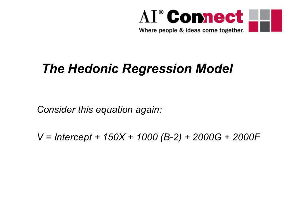Consider this equation again: V = Intercept + 150X + 1000 (B-2) + 2000G + 2000F The Hedonic Regression Model