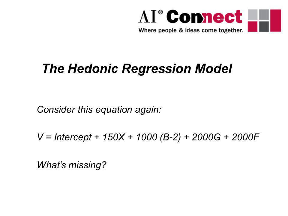Consider this equation again: V = Intercept + 150X + 1000 (B-2) + 2000G + 2000F Whats missing? The Hedonic Regression Model