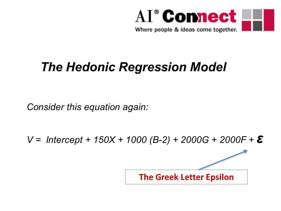 Consider this equation again: V = Intercept + 150X + 1000 (B-2) + 2000G + 2000F + ε The Hedonic Regression Model The Greek Letter Epsilon
